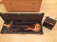 DeVille bass, hard lined case and epiphone bass amp