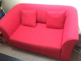Small double sofa bed + 2 beanbags