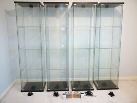 IKEA Detolf Glass Display Cabinets with Lights