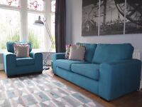 Teal Blue DFS 3 Seater Sofa & Armchair Chair IMMACULATE