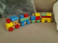 Wooden train building blocks toy
