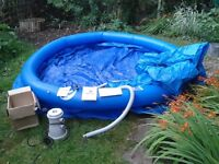 TP (PADDLING POOL (10ft) 305cm by 74 cm, great condition, clean, with cover and filter pump