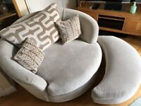 Swivel Chair Jumbo 2 Seater Sofa Armchair With Footstool for cuddles