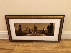 Charles Bridge, Prague in twilight. Mounted, framed photo print.