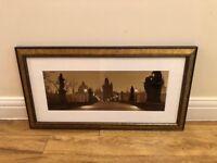 Charles Bridge, Prague in twilight. Mounted, framed photo print.