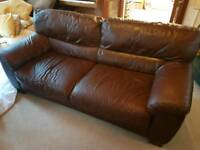 Italian design brown leather sofa