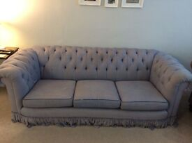 Blue Chesterfield Three Seater Sofa - Urgently Selling