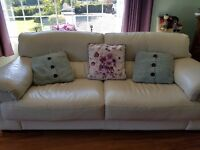 Sofa / Cream Leather 3 seater £135