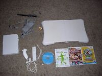 nintendo wii console, wii fit board + games
