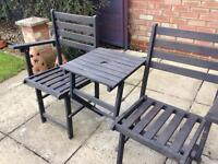 2 wooden garden chairs table attached folding for easy storage black ideal garden picnics camping