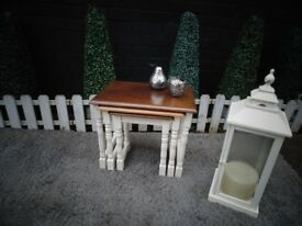 SOLID PINE NEST OF TABLES PAINTED WITH LAURA ASHLEY CREAM COLOUR AND WAXED FOR PROTECTION