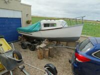 boat project .17ft fibre glass boat with cabin hull ok on trailler no engine
