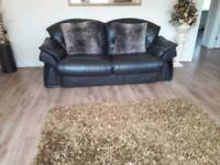 Two three seater sofa's brown leather