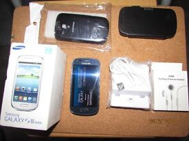 Samsung Galaxy S3 Mini GT-18200N 8GB Pebble blue O2/Tesco/Giffgaff Boxedbundle excellent condition