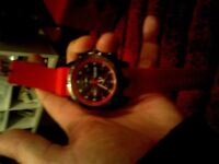 brand new mens casual watch with red silicon strap