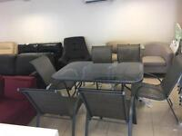 Brand New Designer 6 Seater Weatherproof Outside Glass Top Table. And 6 Weatherproof Chairs