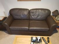 Brown Leather Sofa, Armchair and Footstool for sale. OPEN TO OFFERS