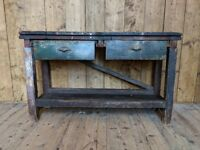 BENCH industrial rustic naive solid wood upcycle workshop antique vintage kitchen gplanera