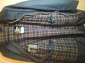 gents used b arbour wax jacket border blue no marks brass zipper size 46 .