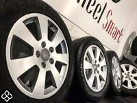 "NEW GENUINE AUDI 16""ALLOY WHEELS & TYRES - 5 X 112 - 205 55 16 - GLOSS SILVER - Wheel Smart"