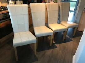 4 cream leather barker & stonehouse dining chairs