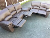 2+3 seater reclining leather sofas. Can deliver