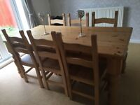 Solid farmhouse dining table and 6 chairs