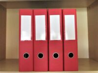 Lot of 4 x Lever Arch Files red A4 size hardly used in very good condition