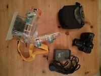 Canon G10 (faulty) + WP-DC28 underwater housing + Lowe Alpine case