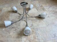 Chrome 5 bulb Ceiling Light with Cool White LED Golf Ball Bulbs