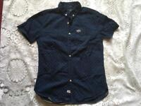 Superdry men's shirt short sleeves navy size Small used v.good condition £10