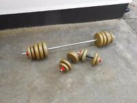 50kgs Barbell and Dumbbell set with Vinyl weights - Plymouth