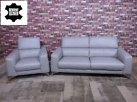 'FLAVIO' RETRO DESIGNER 3 SEATER & ARMCHAIR 100% LEATHER IN SILVER GREY SOFA/SETTEES