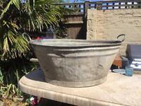 Large Vintage Galvanised Bucket / Planter
