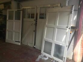 Hardwood garage doors. Open to offers