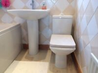 Bathroom Suite in White, bath, toilet & sink with fixtures