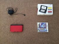 NINTENDO 3DS XL RED - POKEMON MOON - CHARGER - ORIGINAL BOX - 4GB MEMORY CARD