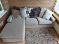 Large Corner Fabric Oatmeal Sofa - with scatter cushions