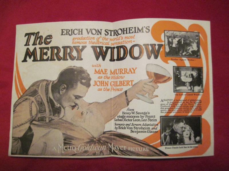 ERICH VON STROHEIM - JOHN GILBERT - THE MERRY WIDOW - MOVIE HERALD - MAE MURRAY