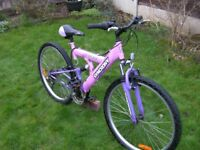 "Ladies Front and Rear suspension mountain Bike, 26"" Alloy wheels. 18"" Frame, 18 Shimano gears."