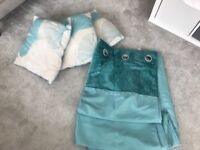Next full lined teal curtains with matching cushions