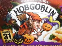 Wychwood Brewery advertising halloween hobgoblin fish and chips