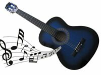 """New - 3/4 SIZE 36"""" ACOUSTIC GUITAR 4 STUD/ADULT BEGINNERS 6 NYLON STRINGS - blue"""