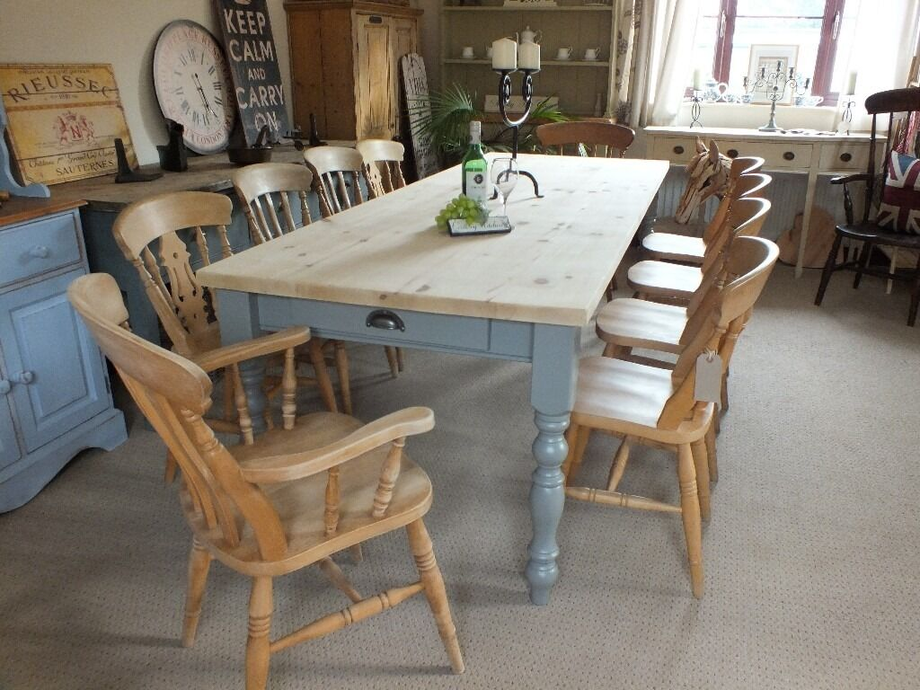 Large 8ft rustic style shabby chic country pine table and for Rustic farm table chairs
