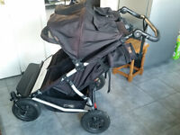 MOUNTAIN BUGGY DUET -Black Compact Double Seat Stroller Pushchair
