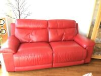 Red Leather 3 & 2 Seater sofa with Footstool Excellent condition £285 ono