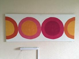 Large pink/orange/white circles canvas