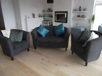 Compact and trendy bucket-shaped sofa with 2 separate armchairs - REDUCED FOR QUICK SALE