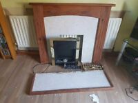 Wooden fire surround with Harth and Electric Fire