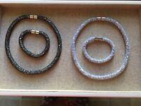 Silver/Gun metal Swarovski element necklace and bracelet sets